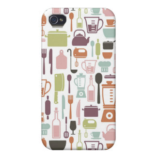 Pattern with colorful cooking icons case for iPhone 4