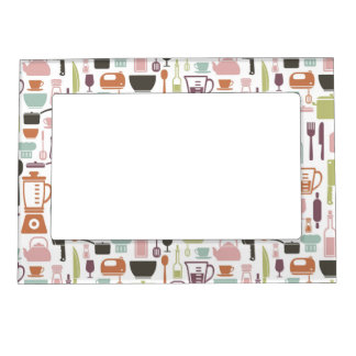 Pattern with colorful cooking icons magnetic photo frame