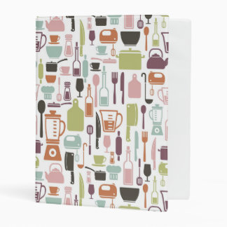 Pattern with colorful cooking icons mini binder