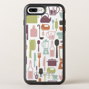 Pattern with colorful cooking icons OtterBox symmetry iPhone 8 plus/7 plus case