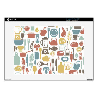 """Pattern with cooking icons 15"""" laptop decal"""