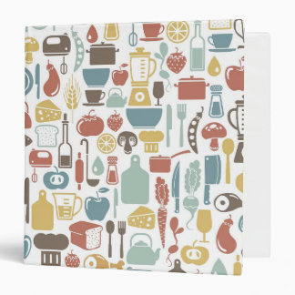 Pattern with cooking icons 3 ring binder