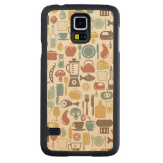 Pattern with cooking icons carved maple galaxy s5 slim case