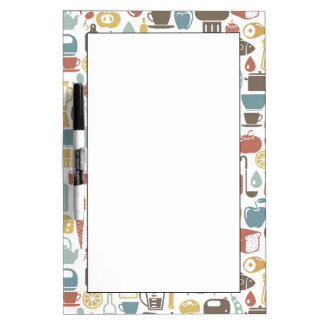 Pattern with cooking icons dry erase board