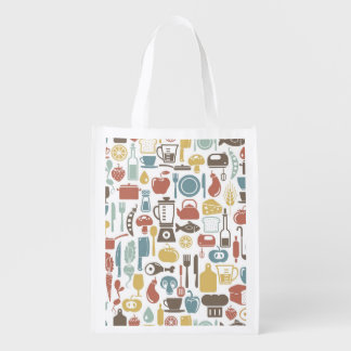 Pattern with cooking icons grocery bag
