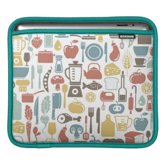 Pattern with cooking icons iPad sleeve