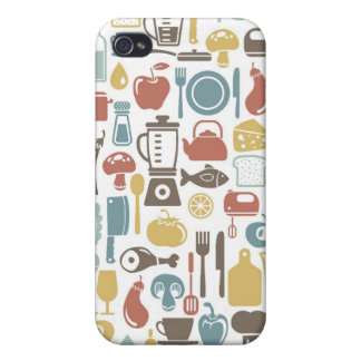 Pattern with cooking icons covers for iPhone 4