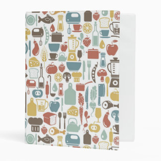 Pattern with cooking icons mini binder