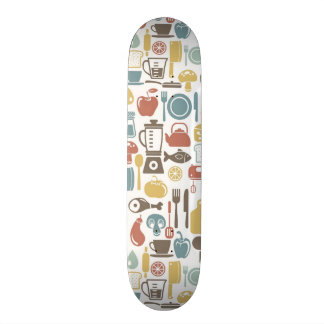 Pattern with cooking icons skateboard deck