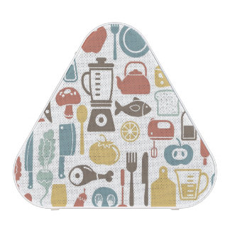 Pattern with cooking icons speaker
