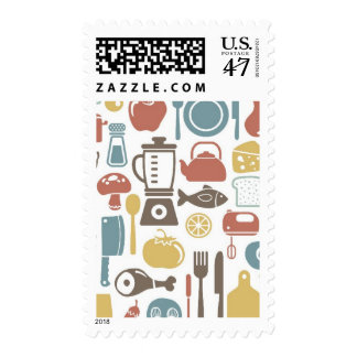 Pattern with cooking icons stamp