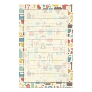 Pattern with cooking icons stationery