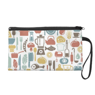 Pattern with cooking icons wristlet