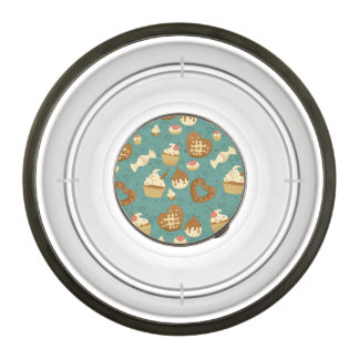 Pattern with cupcakes and candies bowl