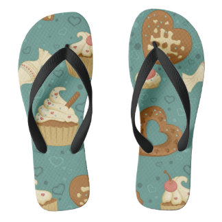 Pattern with cupcakes and candies flip flops