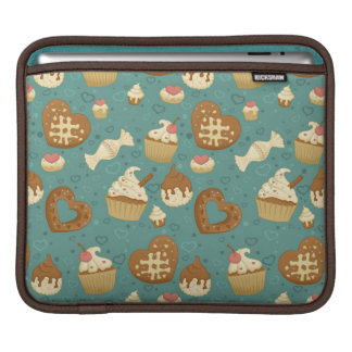 Pattern with cupcakes and candies iPad sleeve