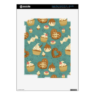 Pattern with cupcakes and candies iPad 3 decals