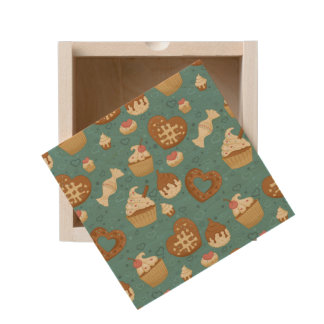 Pattern with cupcakes and candies wooden keepsake box