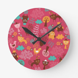 Pattern with cute birds and cats round wall clock