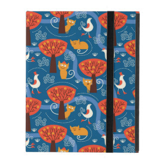 pattern with cute cats and birds iPad cases
