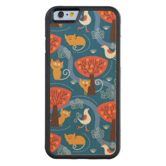 pattern with cute cats and birds carved® maple iPhone 6 bumper case