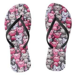 pattern with cute kawaii doodle cats 2 flip flops