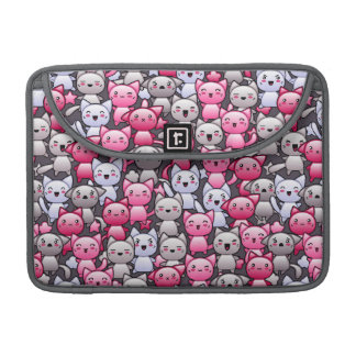 pattern with cute kawaii doodle cats 2 MacBook pro sleeve