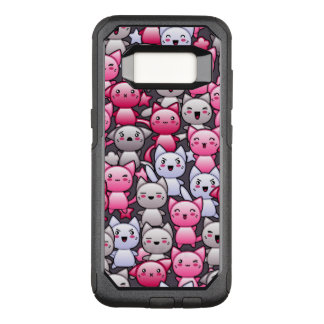pattern with cute kawaii doodle cats 2 OtterBox commuter samsung galaxy s8 case