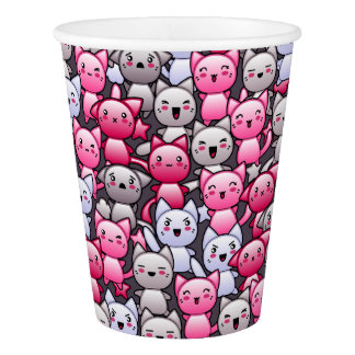 pattern with cute kawaii doodle cats 2 paper cup