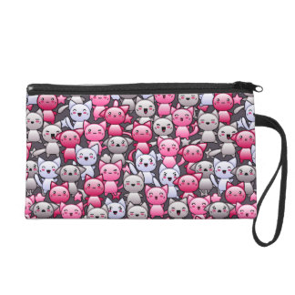 pattern with cute kawaii doodle cats 2 wristlet purse