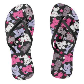 pattern with cute kawaii doodle cats 3 flip flops
