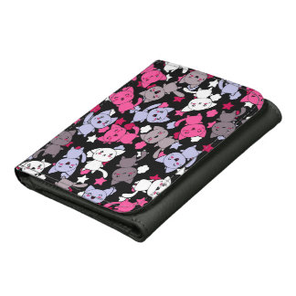 pattern with cute kawaii doodle cats 3 wallets