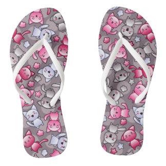 pattern with cute kawaii doodle cats flip flops