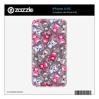 pattern with cute kawaii doodle cats skin for the iPhone 4