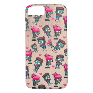 Pattern with Cute Zombie Girls, Guys and Hearts iPhone 7 Case