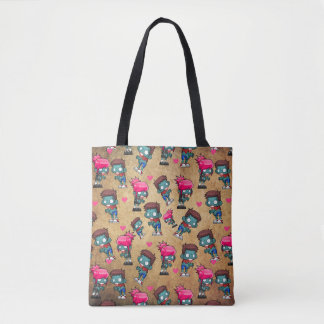 Pattern with Cute Zombie Girls, Guys and Hearts Tote Bag