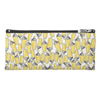 pattern with doodle sketch of yellow felt pen mark pencil case