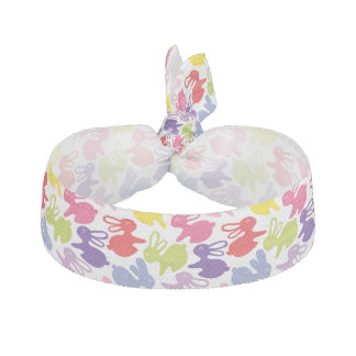 pattern with Easter rabbits Ribbon Hair Tie