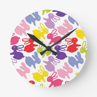pattern with Easter rabbits Round Clock