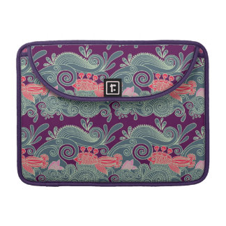 Pattern With Fish And Purple Wave MacBook Pro Sleeve