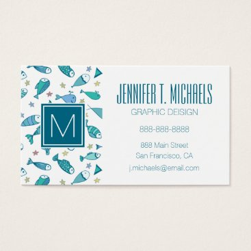 Beach Themed Pattern With Fish And Starfish Business Card