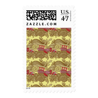 Pattern With Fish And Wave Stamp