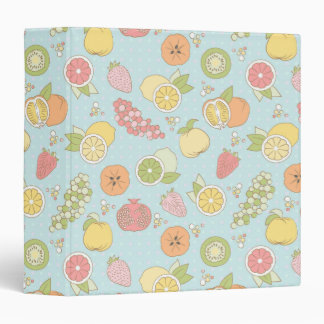 Pattern With Fruits And Berries 3 Ring Binder