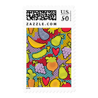 Pattern with fruits and vegetables postage