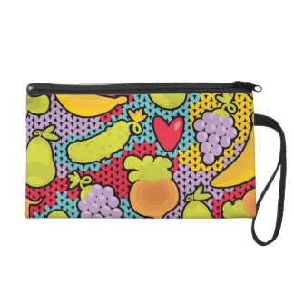 Pattern with fruits and vegetables wristlet purse