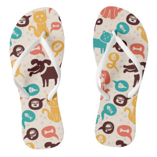 Pattern With Funny Cats And Dogs Flip Flops