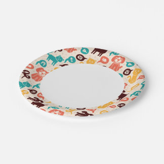 Pattern With Funny Cats And Dogs Paper Plate