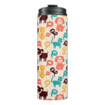Pattern With Funny Cats And Dogs Thermal Tumbler