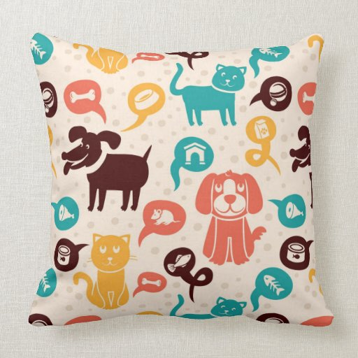 Pattern With Funny Cats And Dogs Throw Pillow