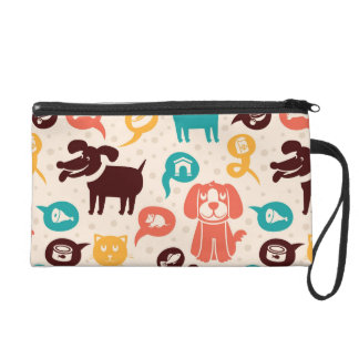 Pattern With Funny Cats And Dogs Wristlet